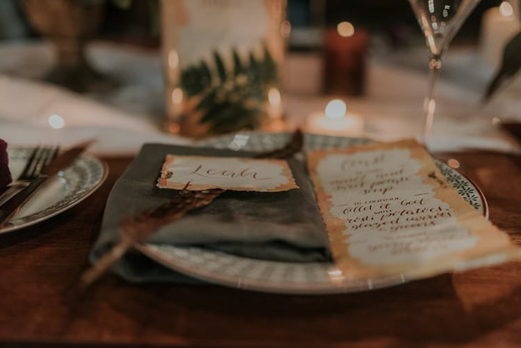 Calligraphy Stationery Paper Place Name Menu Autumn Hygge Wedding Ideas http://meganelle.co.uk/