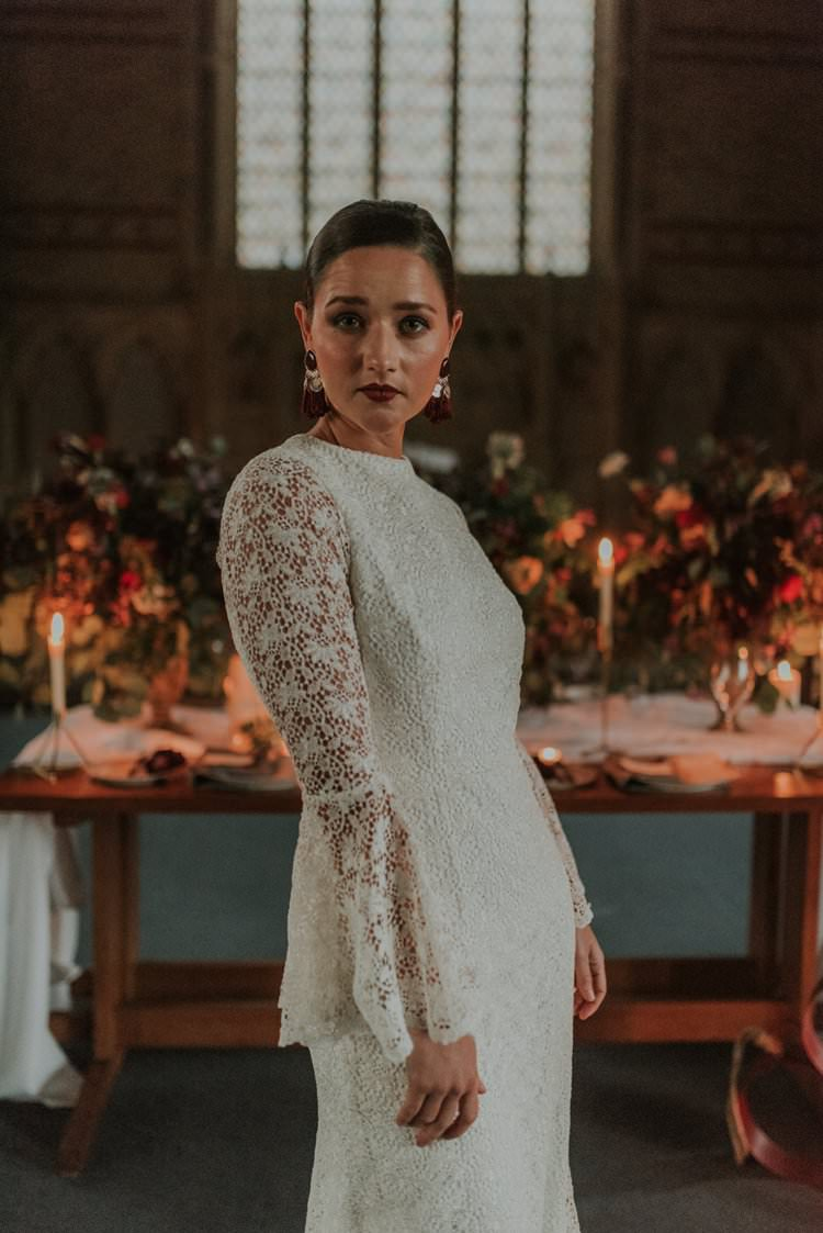 Bride Bridal Dress Gown Lace Sleeves Autumn Hygge Wedding Ideas http://meganelle.co.uk/