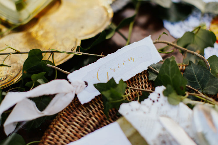 Gold Calligraphy Place Name Card Bohemian Luxe Coastal Wedding Ideas https://www.tarastattonphotography.com/