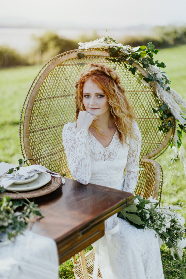 Peacock Chairs Bride Bridal Pampas Grass Greenery Tablescape Decor Bohemian Luxe Coastal Wedding Ideas https://www.tarastattonphotography.com/