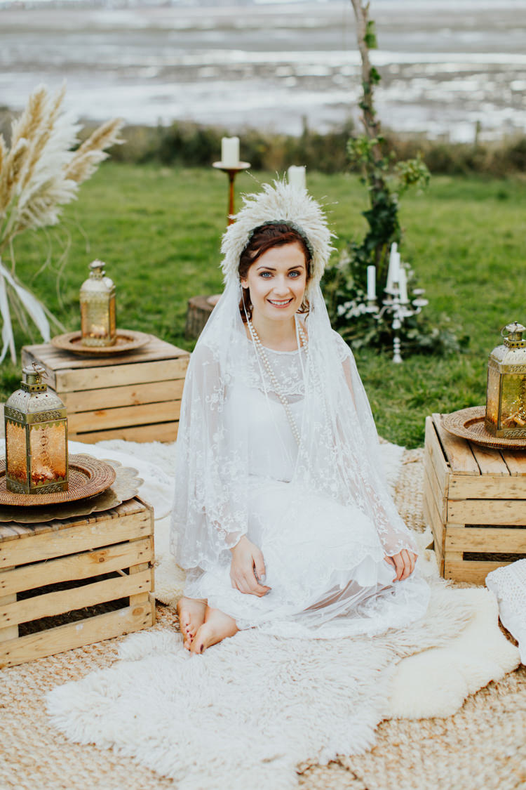 Vintage Lace Dress Gown Sleeves Bride Bridal Bare Foot Free Spritied Cape Veil Bohemian Luxe Coastal Wedding Ideas https://www.tarastattonphotography.com/