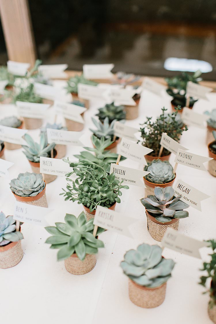 Succulent Escort Cards Dinner Names Dietary Requirements Green Brown Rustic | Romantic Castle Switzerland Wedding http://kbalzerphotography.com/