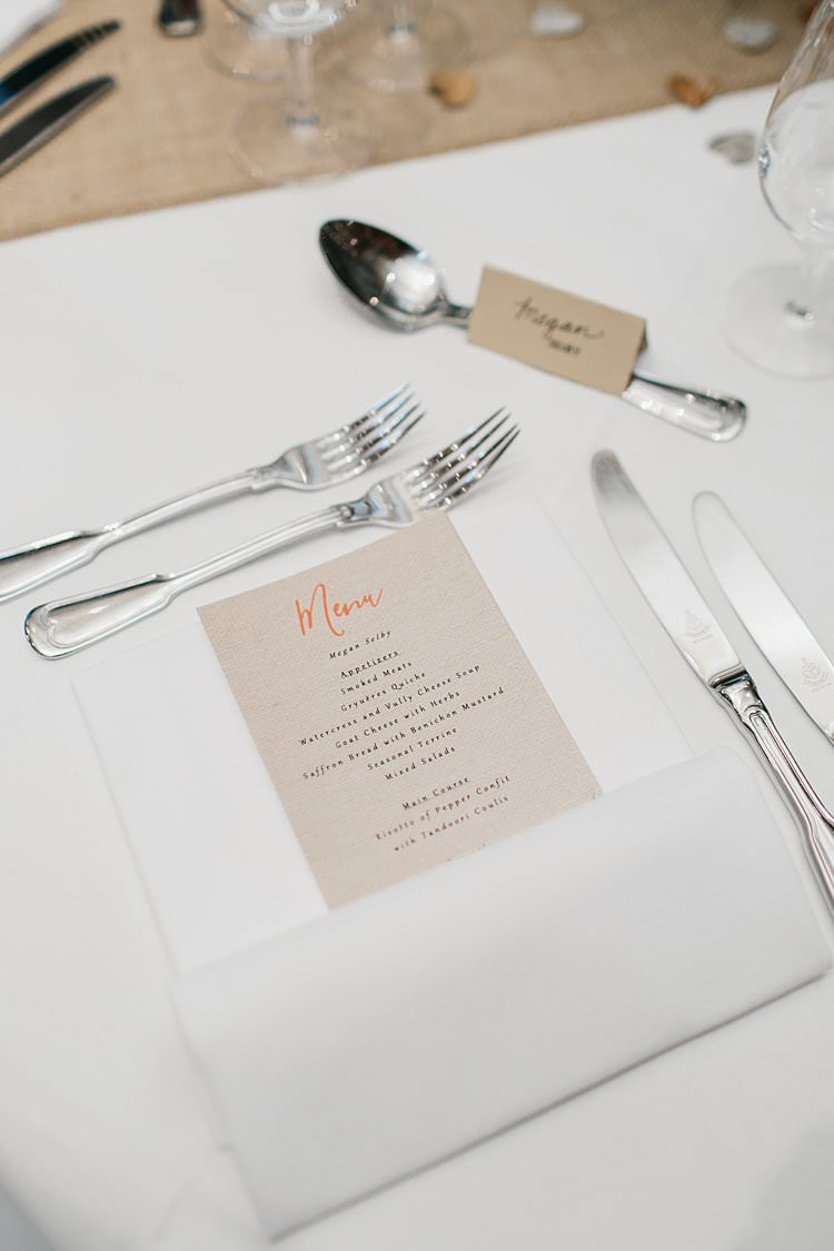 Destination Wooden White Brown Tablescapes Rustic Simple Menu | Romantic Castle Switzerland Wedding http://kbalzerphotography.com/