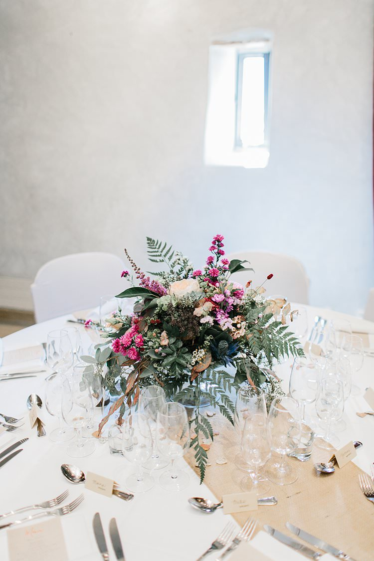Destination Wooden Airy White Brown Tablescapes Floral Centrepieces Rustic | Romantic Castle Switzerland Wedding http://kbalzerphotography.com/