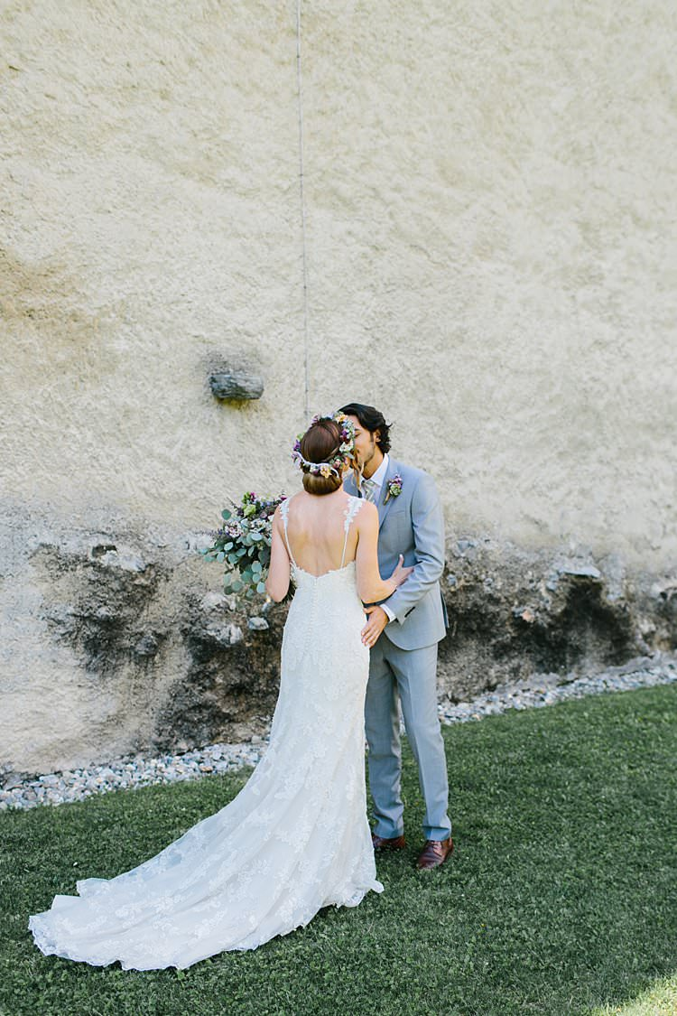 Destination Summer Sunny First Look Happy Groom Bride Kiss | Romantic Castle Switzerland Wedding http://kbalzerphotography.com/