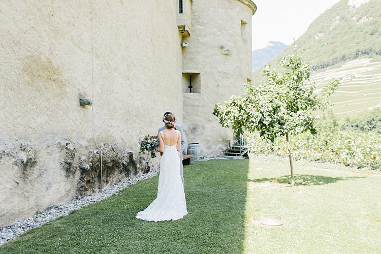 Destination Summer Sunny First Look Happy Groom Bride Vineyard Kiss | Romantic Castle Switzerland Wedding http://kbalzerphotography.com/