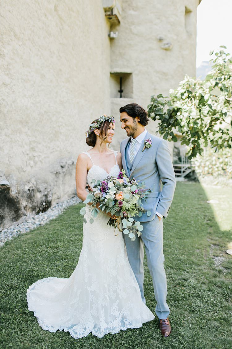 Wild Natural Bouquet Lilac Purple Peach Sweetheart Dress Bride Updo Grey Groom | Romantic Castle Switzerland Wedding http://kbalzerphotography.com/