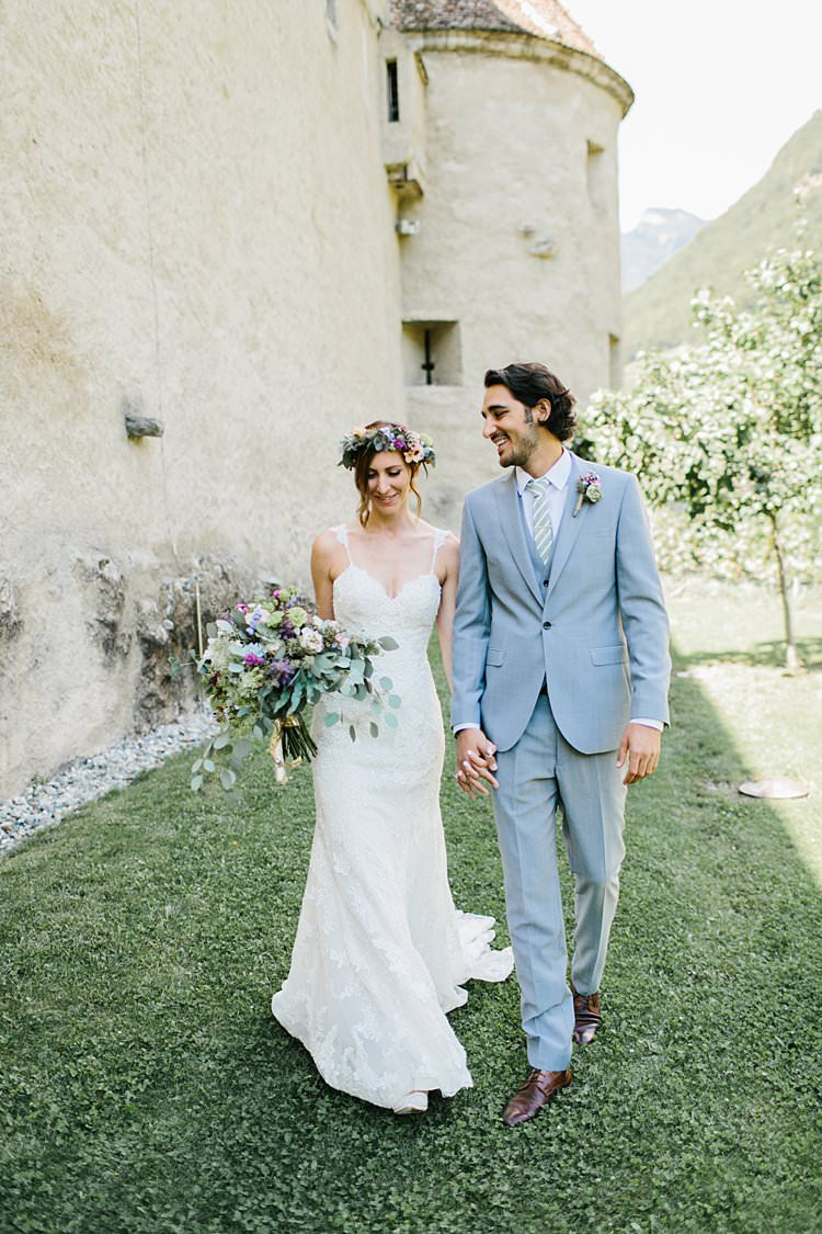 Destination Summer Sunny First Look Happy Groom Bride Bouquet Vineyard | Romantic Castle Switzerland Wedding http://kbalzerphotography.com/
