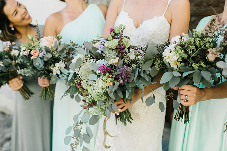 Wild Natural Bouquet Lilac Purple Peach Sweetheart Dress Bride Green Bridesmaids | Romantic Castle Switzerland Wedding http://kbalzerphotography.com/