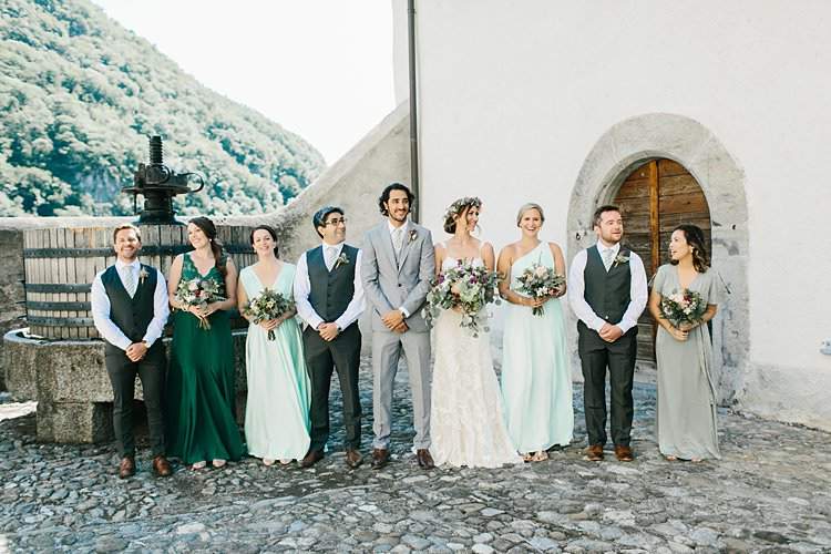 Destination Summer Mountains Bride Bridesmaids Groomsmen Groom Grey Green | Romantic Castle Switzerland Wedding http://kbalzerphotography.com/