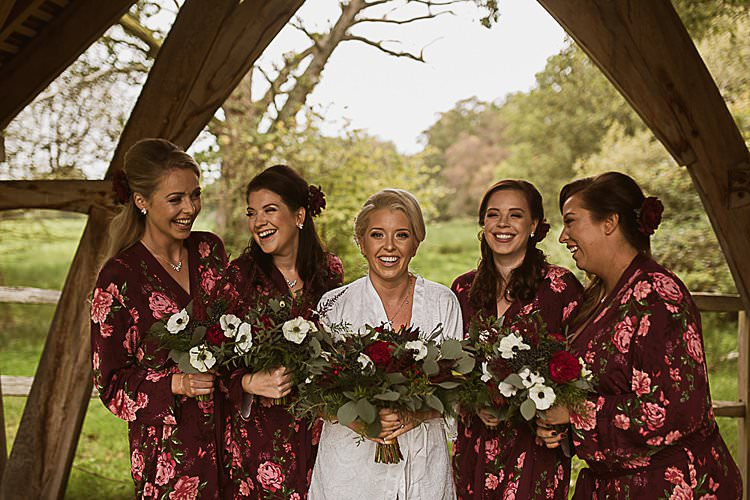 Floral Dressing Gowns Bride Bridesmaids Beautiful Vibrant Dark Red Autumn Wedding http://thespringles.com/
