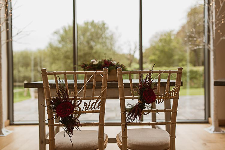 Bride Groom Chair Decor Sign Beautiful Vibrant Dark Red Autumn Wedding http://thespringles.com/