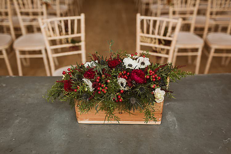 Wooden Box Flowers Beautiful Vibrant Dark Red Autumn Wedding http://thespringles.com/