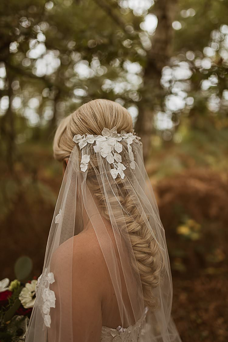 Plaid Braid Bride Bridal Hair Style Beautiful Vibrant Dark Red Autumn Wedding http://thespringles.com/