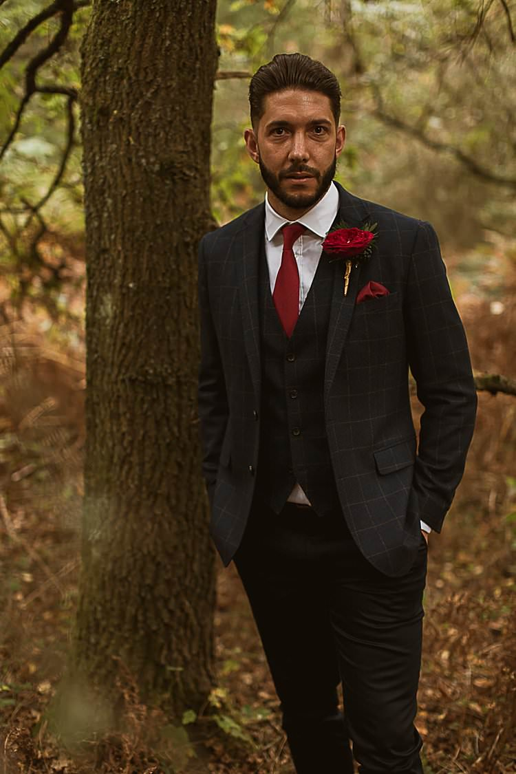 Check Tweed Suit Groom Beautiful Vibrant Dark Red Autumn Wedding http://thespringles.com/