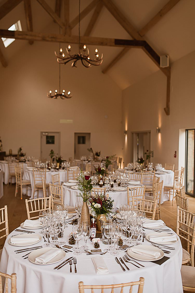Barn Venue Modern Decoration Beautiful Vibrant Dark Red Autumn Wedding http://thespringles.com/