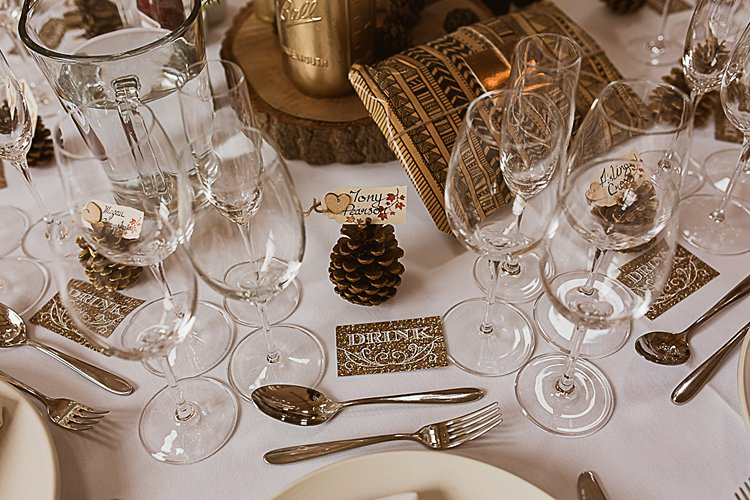 Pine Cone Place Setting Decor Beautiful Vibrant Dark Red Autumn Wedding http://thespringles.com/