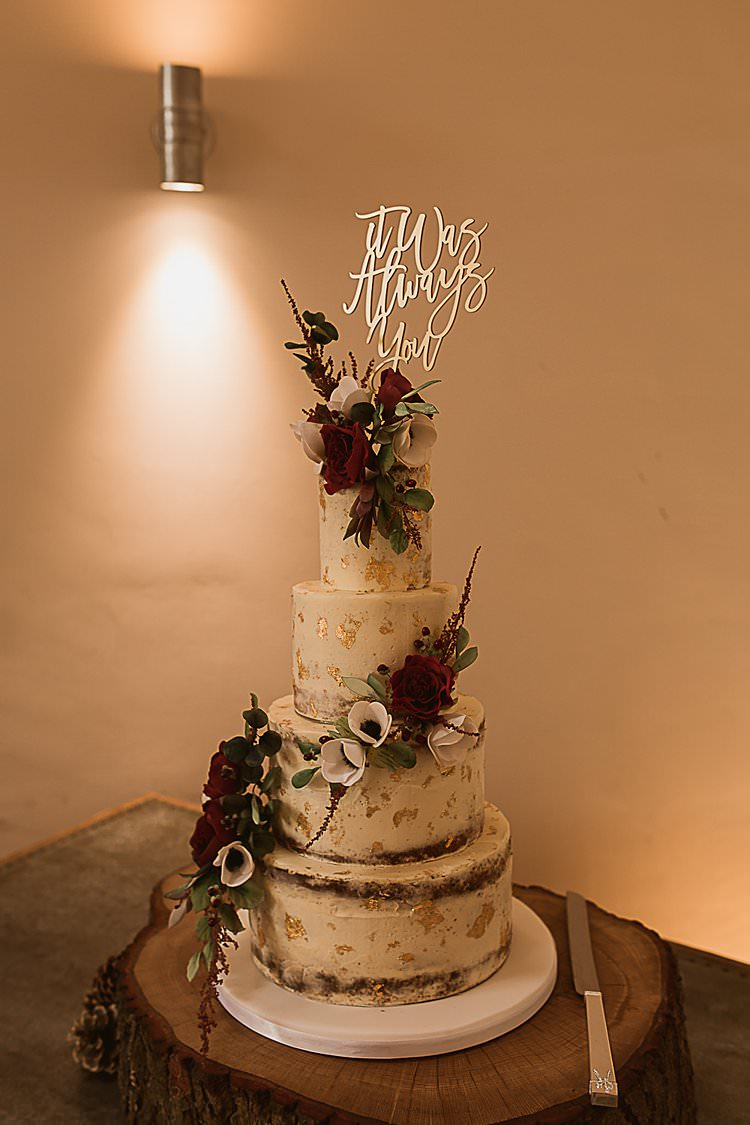 Naked Buttercream Cake Flowers Topper Beautiful Vibrant Dark Red Autumn Wedding http://thespringles.com/