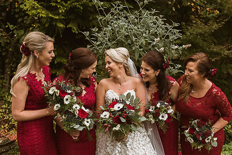 Bridesmaid Dresses Beautiful Vibrant Dark Red Autumn Wedding http://thespringles.com/