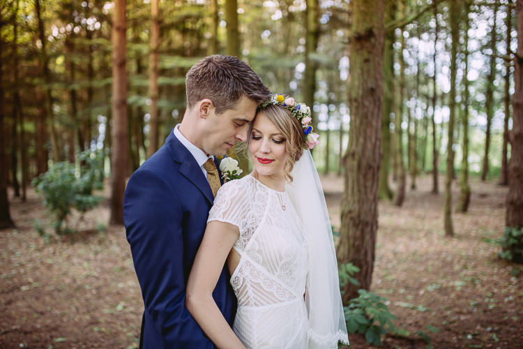 Wtoo Lace Dress Gown Bride Bridal Flower Crown Gorgeous Gold Navy Wow Factor Wedding http://hayleybaxterphotography.com/