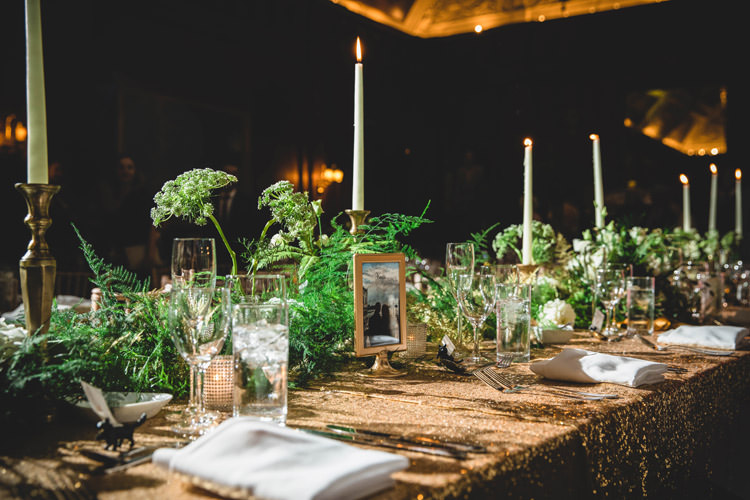 Greenery Candlesticks Top Table Gold Sequins Marble Greenery Vintage Glamour Wedding https://www.tobiahtayo.com/