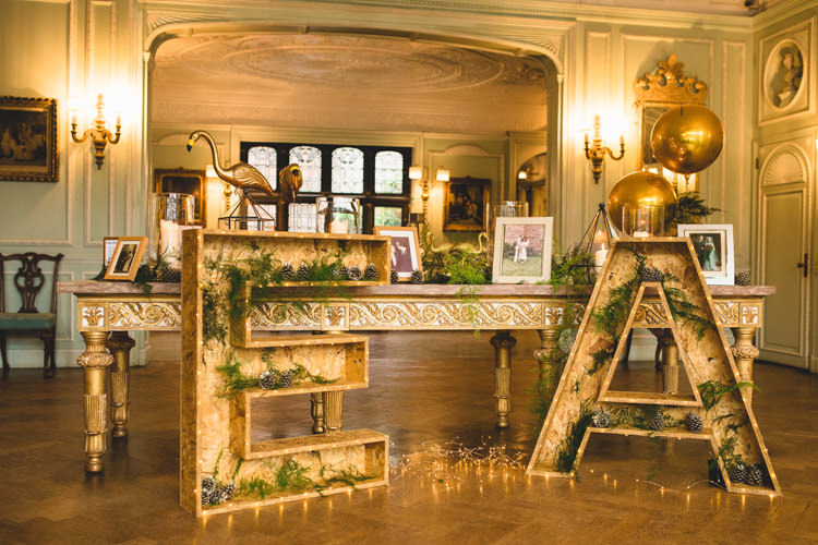 Welcome Table Guest Book Giant Wooden Letter Foliage Greenery Fairy Lights Gold Sequins Marble Greenery Vintage Glamour Wedding https://www.tobiahtayo.com/