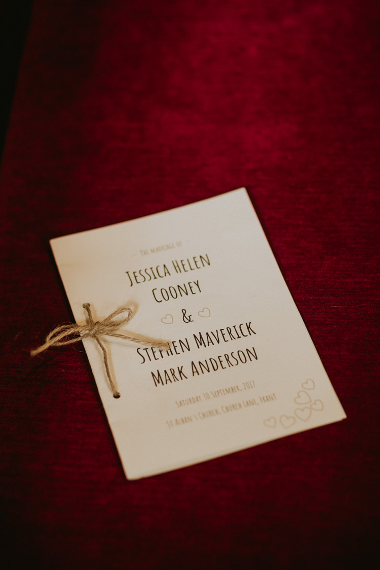 Stationery Order of Service Twine Rustic Country Fun Autumn Farm Wedding http://natalyjphotography.com/