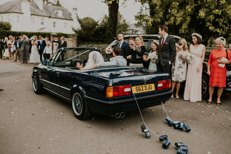 Vintage BMW Just Married Cans Rustic Country Fun Autumn Farm Wedding http://natalyjphotography.com/