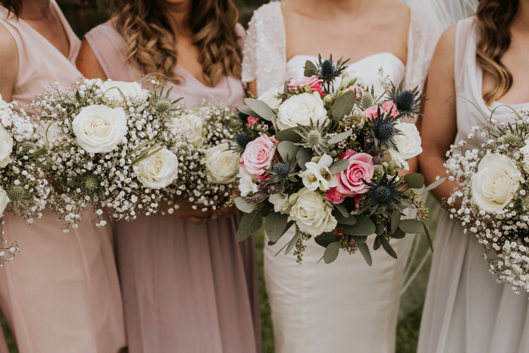 Bride Bridal Bridesmaids Bouquet Gypsophila Thistle Rose Blush Pink Rustic Country Fun Autumn Farm Wedding http://natalyjphotography.com/