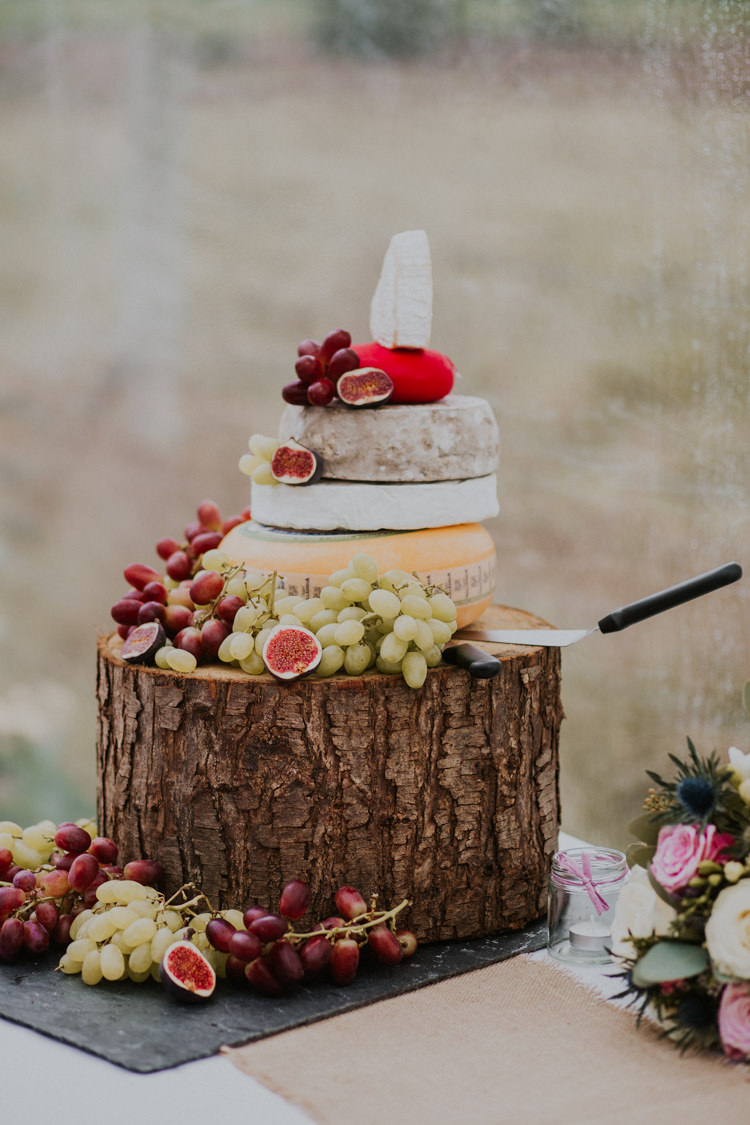 Cheese Tiered Cake Wood Slice Log Rustic Country Fun Autumn Farm Wedding http://natalyjphotography.com/