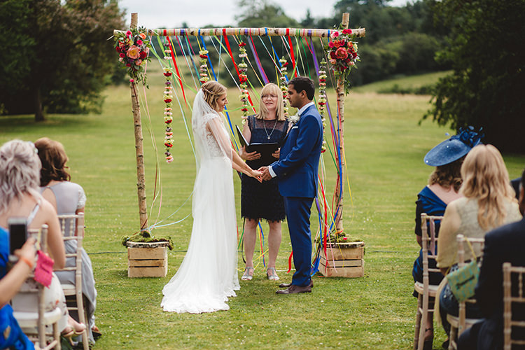 Outdoor Ceremony Backdrop English Country Garden Wedding Colourful Indian Party https://www.maytreephotography.co.uk/