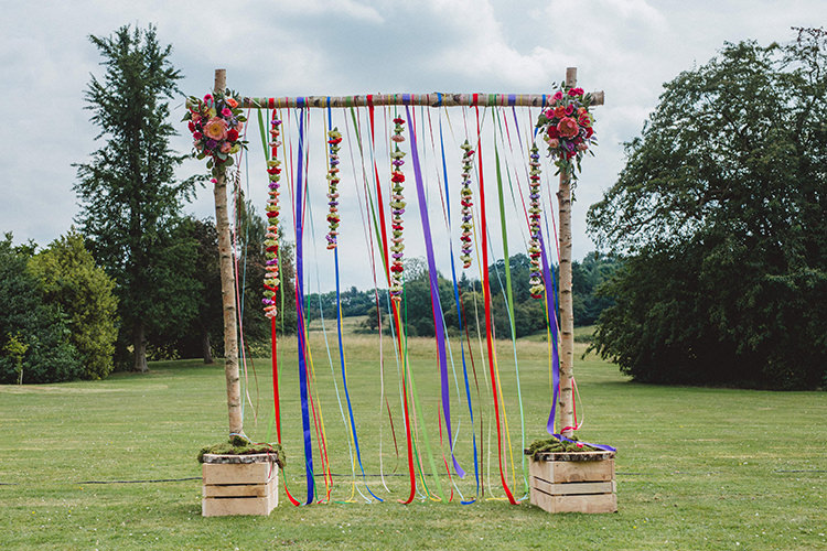 Ribbons Flowers Branch Backdrop Ceremony English Country Garden Wedding Colourful Indian Party https://www.maytreephotography.co.uk/