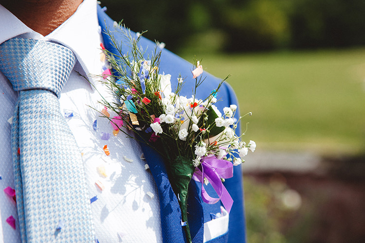 Buttonhole Groom English Country Garden Wedding Colourful Indian Party https://www.maytreephotography.co.uk/