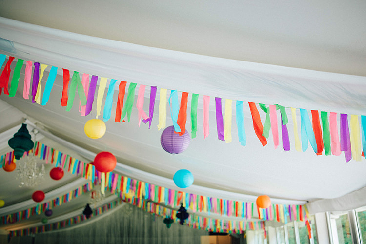 Marquee Rainbow Lanters Streamers Decoration English Country Garden Wedding Colourful Indian Party https://www.maytreephotography.co.uk/