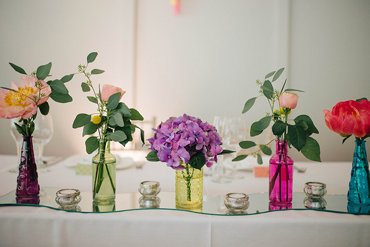 Flowers Bottles Decor Tables English Country Garden Wedding Colourful Indian Party https://www.maytreephotography.co.uk/