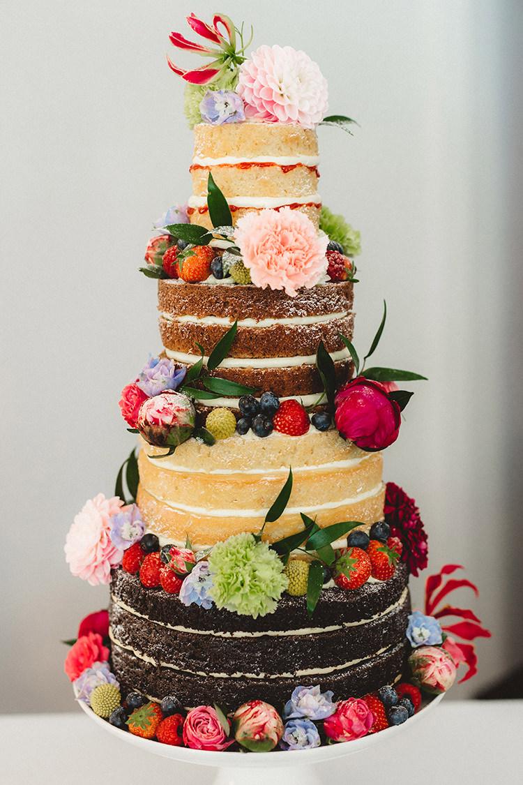 Naked Cake Layer Sponge Flowers Fruit English Country Garden Wedding Colourful Indian Party https://www.maytreephotography.co.uk/