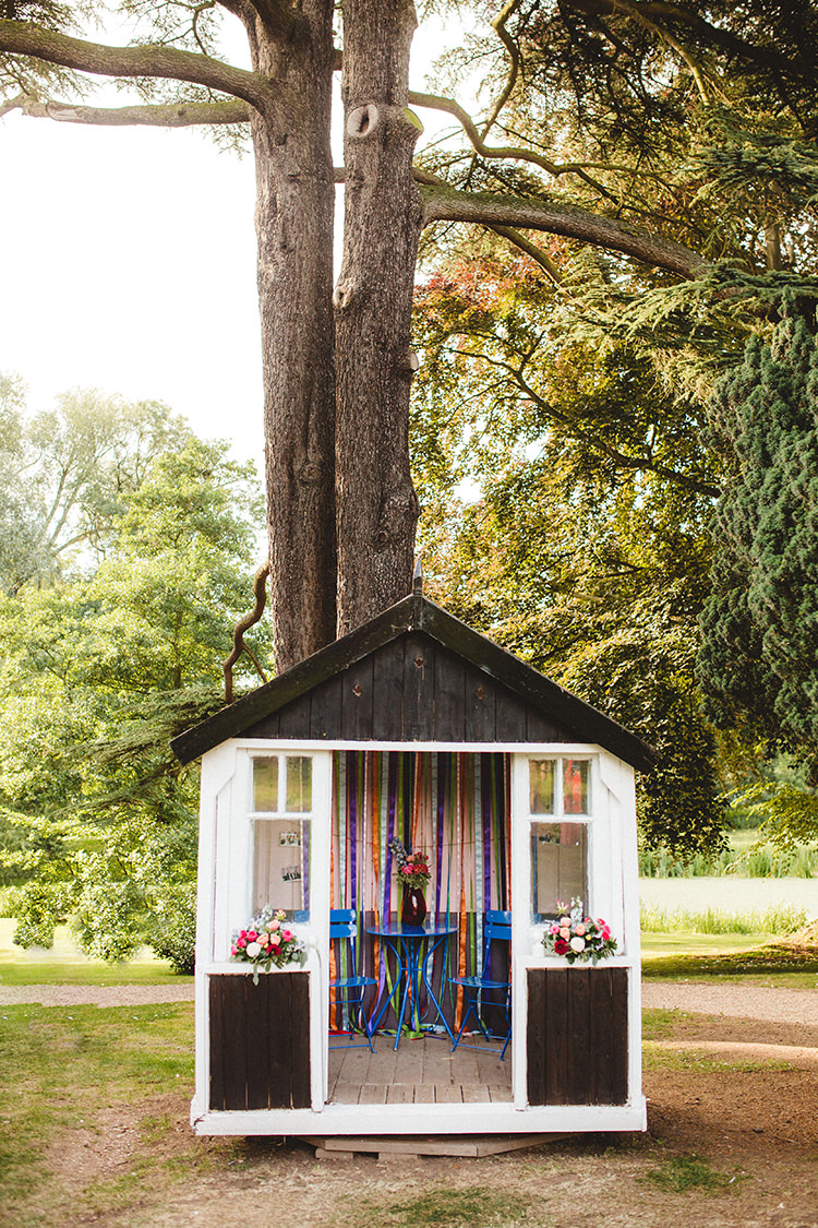 Photo Booth Shed Play House Wooden English Country Garden Wedding Colourful Indian Party https://www.maytreephotography.co.uk/