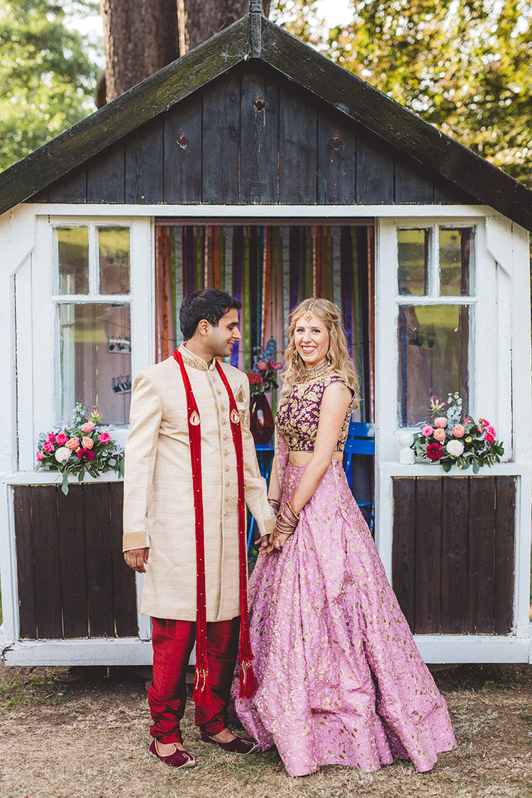 Lengha Bride Bridal Groom Outfit English Country Garden Wedding Colourful Indian Party https://www.maytreephotography.co.uk/