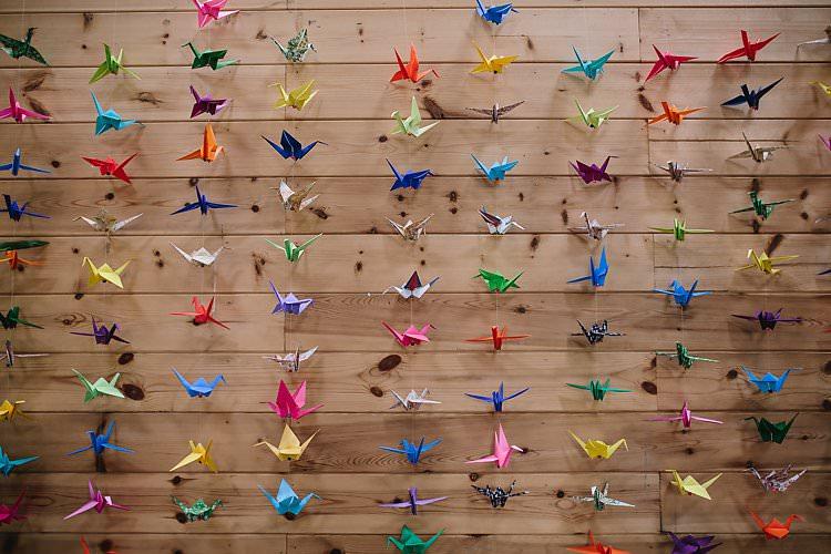 Origami Paper Cranes Tropical Countryside Tipi Wedding https://parkershots.com/