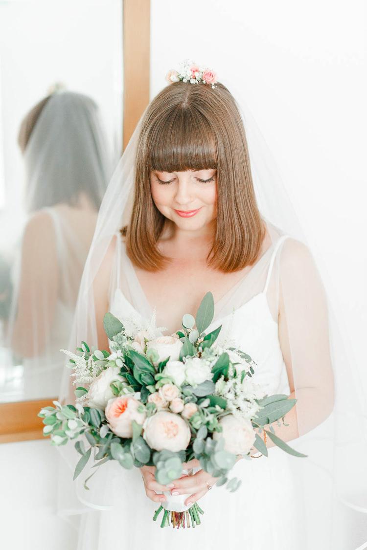 Hair Bride Bridal Short Bob Fringe Flowers Light Airy Pretty Pastel Pink Wedding http://whitestagweddings.com/