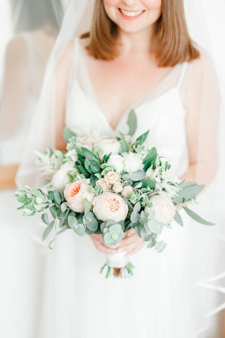 Rose Eucalyptus Bouquet Flowers Bride Bridal Light Airy Pretty Pastel Pink Wedding http://whitestagweddings.com/