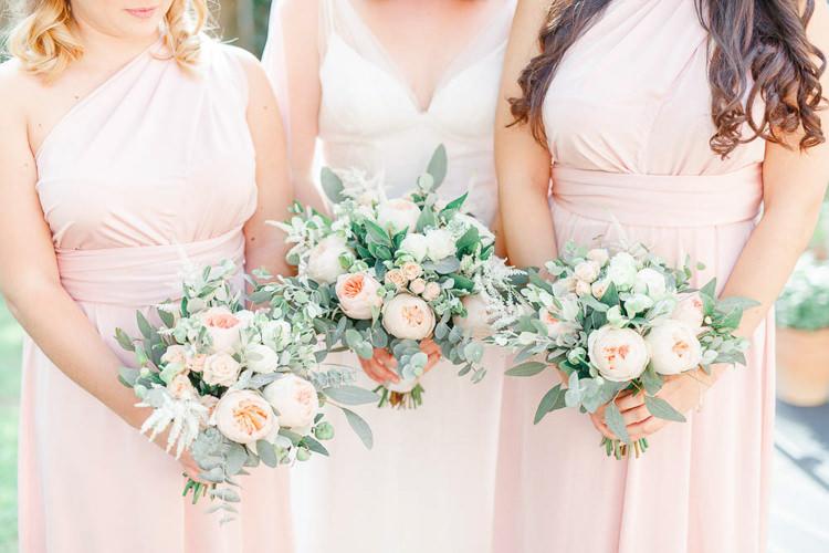 Rose Eucalyptus Bouquet Flowers Bride Bridal Bridesmaids Light Airy Pretty Pastel Pink Wedding http://whitestagweddings.com/
