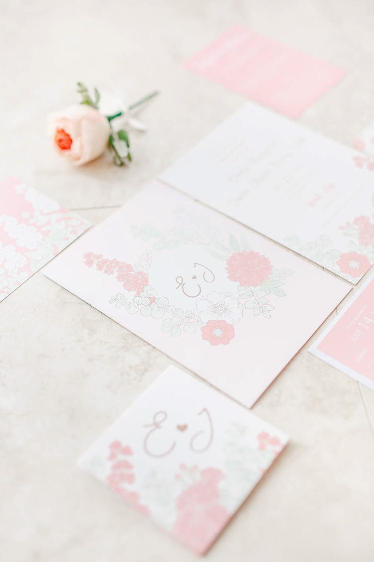 Floral Stationery Invites Invitaions Light Airy Pretty Pastel Pink Wedding http://whitestagweddings.com/