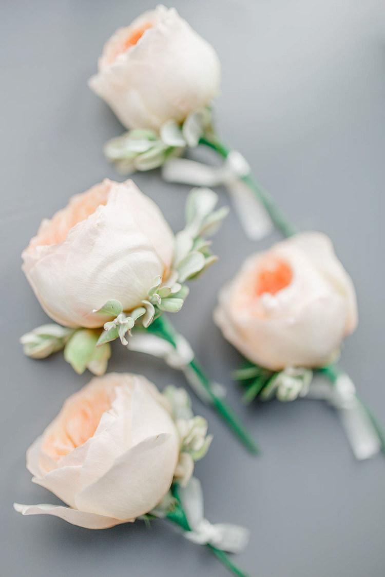 Rose Eucalyptus Buttonhole Light Airy Pretty Pastel Pink Wedding http://whitestagweddings.com/