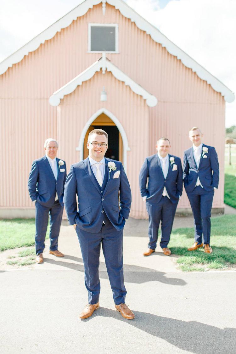 Navy Groom Groomsmen Suit Ties Tan Shoes Light Airy Pretty Pastel Pink Wedding http://whitestagweddings.com/