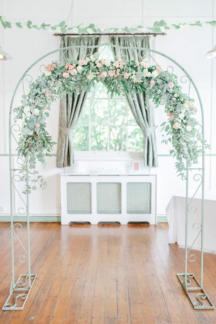 Rose Eucalyptus Greenery Flowers Arch Backdrop Ceremony Light Airy Pretty Pastel Pink Wedding http://whitestagweddings.com/