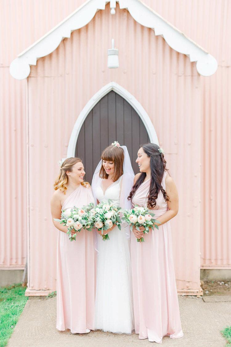Long Maxi Bridesmaid Dreses Multiway Light Airy Pretty Pastel Pink Wedding http://whitestagweddings.com/