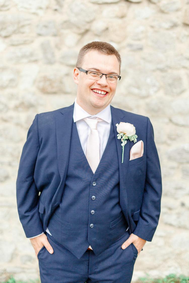 Navy Suit Tie Groom Light Airy Pretty Pastel Pink Wedding http://whitestagweddings.com/