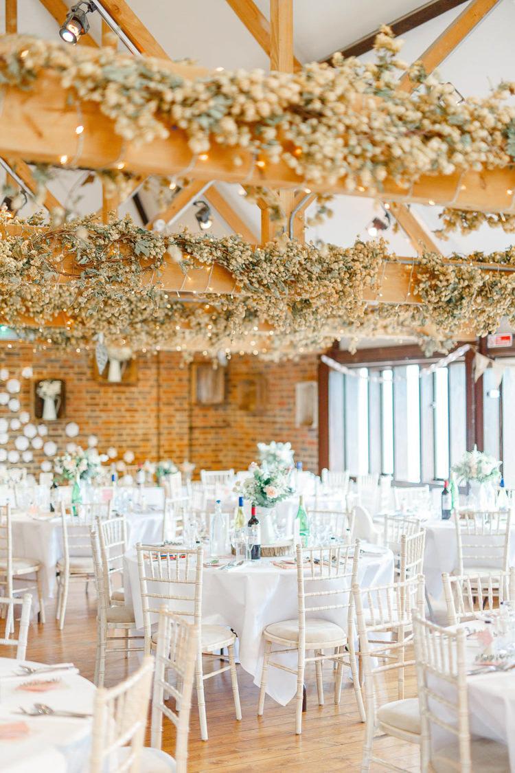 Barn Hops Beams Fairy Lights Light Airy Pretty Pastel Pink Wedding http://whitestagweddings.com/