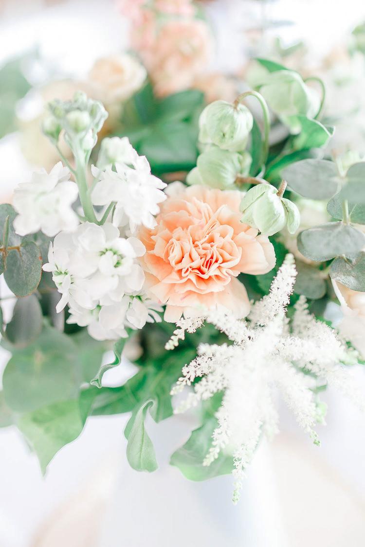 Rose Eucalyptus Flowers Astilbe Log Stand Jug Light Airy Pretty Pastel Pink Wedding http://whitestagweddings.com/